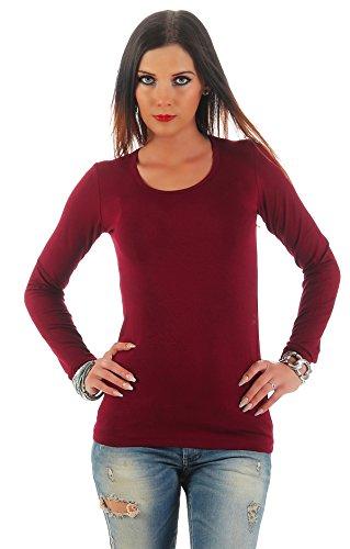 BALI Lingerie Mellice - Damen Langarm Shirt U-Neck T-Shirt Top Body (M/L, Weinrot) (Shirt Top Body)