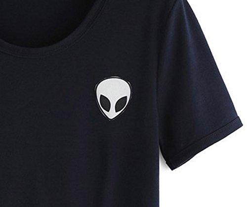 Lannorn Damen Sommer Short Sleeve Runden Hals Aliens Shirt Tee, Hemd Niedlich Ausgesetzt Nabel lose Print pullover Bluse Lassige Crop Tops. Schwarz