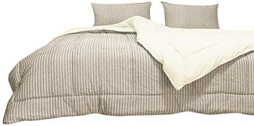 Newpoint Luxus Leinen/Baumwolle Blended waschbar gewebtem Streifen Tröster Mini Set, Full/Queen, natur