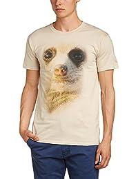 Printed Wardrobe Men's Big Face Animal Meerkat Crew Neck Short Sleeve T-Shirt