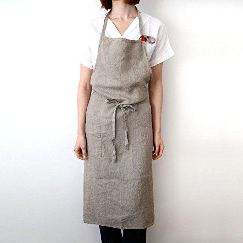TY&WJ Lino Grembiule Grembiuli professionali bib Per barbecue E grill Cucina di casa Ristorante Abbigliamento da lavoro Regolabile Abito scamiciato
