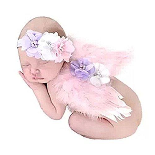 (Lucky Will Baby Foto Fotografie Outfits Mädchen Kostüm Engelsflügel Stricken Flügel Häkelarbeit Kostüm für Kinder rosa)
