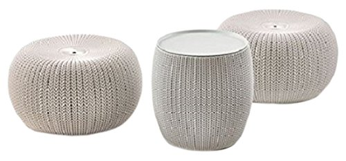 Keter Urban Knit – Set de 2 Poufs et Une Table Ronde de café, Couleur Arena-Piedra