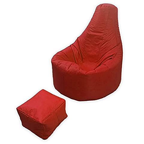 Large Gaming Beanbag Indoor And Outdoor Garden Lounge Gamer Chair with matching Foot Stool in Red High Quality Water Resistant Material by MaxiBean