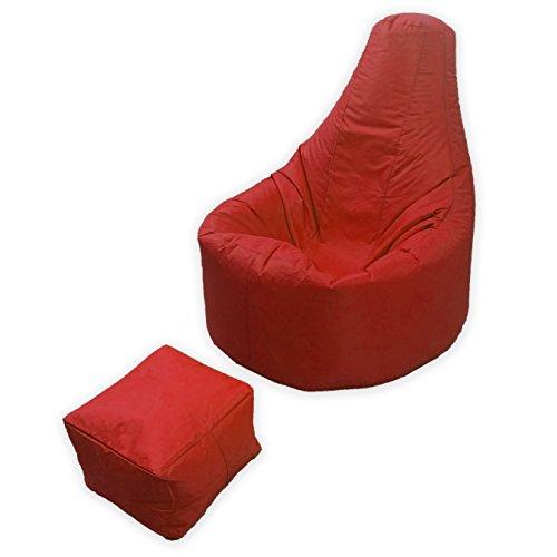 Puf grande de MaxiBean para jugar, para uso en interior o exterior, para jardín o salón, con reposapiés a juego, en rollo, material resistente al agua