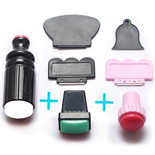Pure Vie 7 Stk. Silikon Nagelstempel Schaber Kit Sets DIY Manikure Werkzeug Nagellack Arts Stempel #3