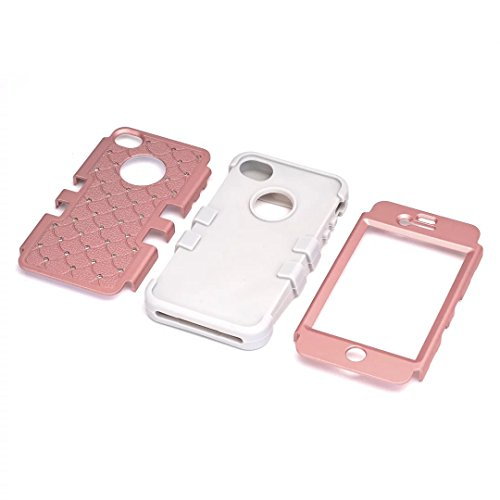 iPhone 4 Coque,iPhone 4S Coque,Lantier clouté strass cristal Bling élégant 3 en 1 double couche hybride anti rayures antichoc Housse de protection robuste pour Apple iPhone 4/4S Rose Gold+Noir Cute Rhinestone Rose Gold+Grey