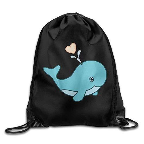 LILKCO Rucksack mit Kordelzug Cute Baby Whale Print Drawstring Tote Bag Cinch Gym Bags Storage Backpack (Taschen Baby Cole Kenneth)