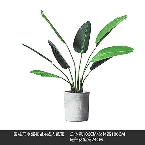KIKIXI Nordic Simulation pflanze Bonsai Dekoration kreative Home Wohnzimmer Büro grüne Pflanzen große Ornamente Banana Leaf, zylindrische Zement Blumentopf + Banana leaf