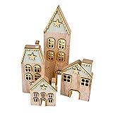 Dadeldo-Home Haus Xmas 4er-Set Deko-Objekt Holz 26-31cm Mehrfarbig Weihnachten