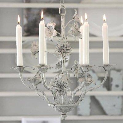 Kerzenkronleuchter Fleurs Fr 6 Kerzen Antikweiss Kronleuchter In Landhausstil Eisen