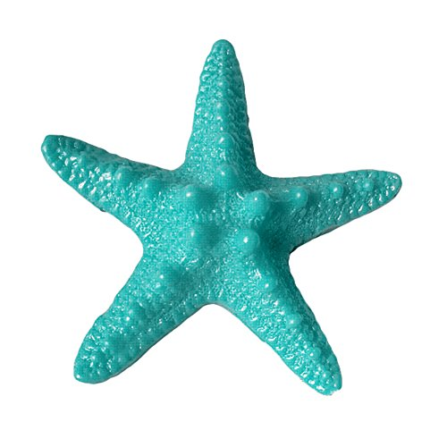 qingsb - 5 Starfish Resin Pieces for Beach Decoration, Blue (Lake Blue)