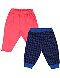 Lil Orchids Girls Pack of 2 Casual Knee Length Pant(LO-2PCK-WVN-CPR-CMB-1_Multi Color)