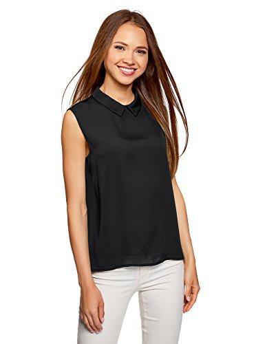 oodji Ultra Damen Ärmellose Bluse Basic mit Kragen, Schwarz, DE 38/EU 40/M (Schlüsselloch-ausschnitt)