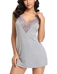 2968a801aa MarysGift Women Cotton Blend Lace Chemise Strappy Nightie Nightdress  Nightgown Nightwear Sleepwear V Neck Plus Size UK 8 10 12 14 16…