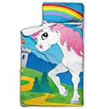 Fairy Tale Unicorn Theme Image 2 Vector Illustra Nap Mat Girls Daycare Toddler Nap Mat with Blanket and Pillow Rollup Design Great for Preschool Daycare Sleepovers 50
