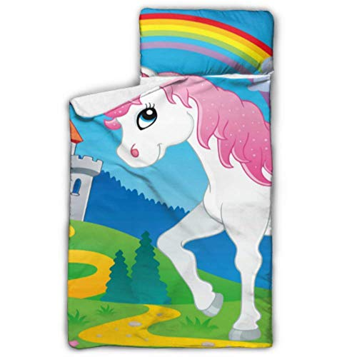 """Fairy Tale Unicorn Theme Image 2 Vector Illustra Nap Mat Girls Daycare Toddler Nap Mat with Blanket and Pillow Rollup Design Great for Preschool Daycare Sleepovers 50\""""x20\"""""""