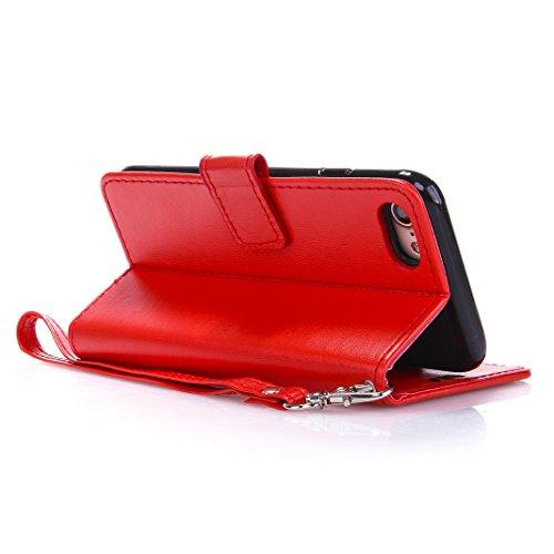 iPhone 7 Stieg Rot Leder Handyhülle, Moon mood® Ledertasche Brieftasche für iPhone 7(4.7 Zoll) ,PU Leder Hülle Wallet Case Folio Schutzhülle Schutz Schale mit Bronzing Schmetterling Blume Flip Cover B U-Rot
