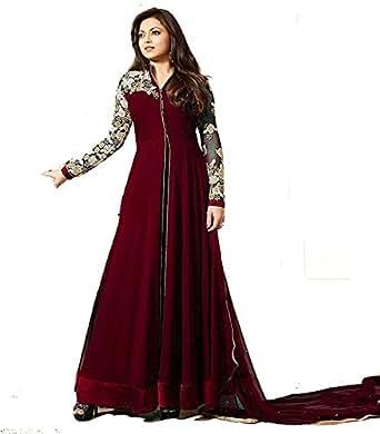 Tagline Women's Georgette Long Semi-Stitched Salwar Suit (brown)