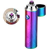 Mechero Electrico,SHUNING A prueba de viento doble USB recargable encendedor electrónico de viento sin llama encendedor (Arco iris)