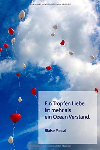 """Ein Tropfen Liebe ist mehr als ein Ozean Verstand.: Notizbuch 6""""x9"""" / 120 Seiten / punktkariert / Bullet Journal / Dot Grid / Luftballons"""