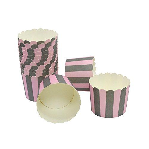 Frau WUNDERVoll® liebevolle Muffin Backformen Papier Förmchen 50 Stück, groß Durchmesser 6,1 cm, rosa-graue Streifen, Höhe 5,5cm