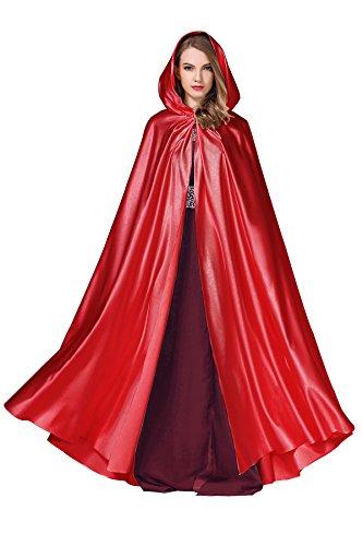 Kostüm Red Braut Gothic - BEAUTELICATE Cape Damen Umhang Mit Kapuze Mittelalter Mantel Satin Lang Halloween kostüm Für Hochzeit Braut Abendkleid Brautkleid