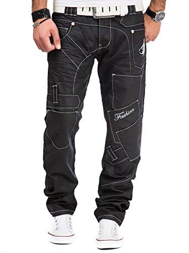 Kosmo Lupo Herren Jeans Hose Schwarz - KM120-1