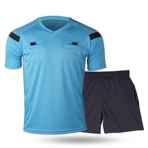 Shinestone Herren Fußball kurzen Ärmeln Schiedsrichter Jersey, blau, XXXL (Hose Schiedsrichter Pro)