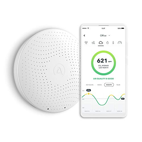 AirThings Wave Plus Smart Radon, CO2 and TVOCs Detector with temperature, humidity and air pressure sensors, operated by batteries, with free app