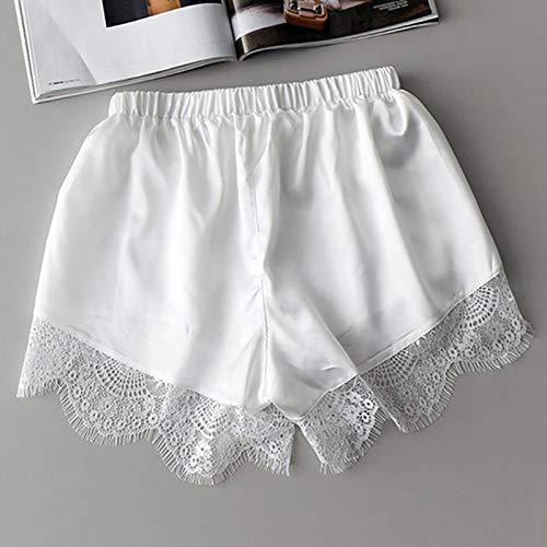 Nachtwäsche Böden (LMSHMDK Frauen Shorts Weiße Spitze Elastische Taille Frauen Shorts Kostüm Seide Solide Taschen Sommer Schlaf Weibliche Nachtwäsche Böden,Weiß,One Size)