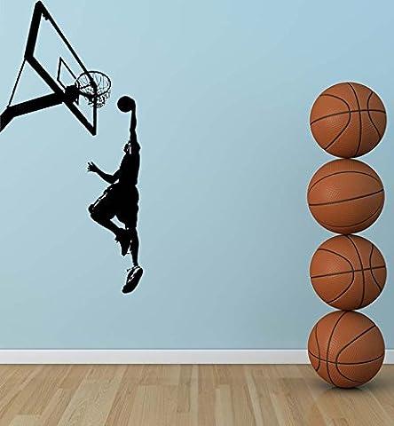 Chambre garçons vinyle décoratif mural Sport match de basket-ball Player Silhouette Cool Wall Mural Autocollant WM-165 Parti de basket-ball, marron, 45X93CM
