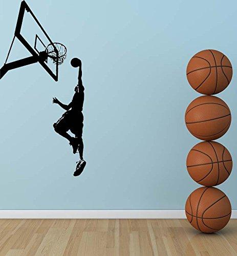 modeganqingg ragazzo camera da letto sport decorazione adesivi murali in vinile pallacanestro giocatore giocatore silhouette cool pittura murale pallacanestro applique 67cmx139cm