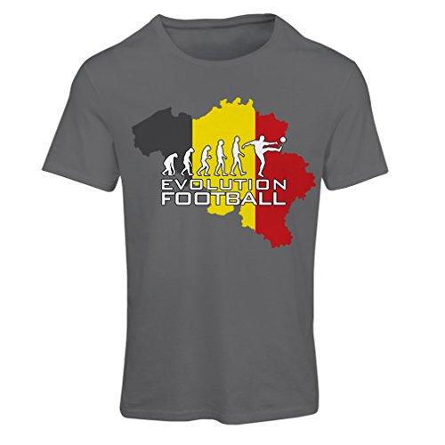 Frauen T-Shirt Evolution Fußball - Belgien, Die belgische Flagge (Small Graphit Mehrfarben)