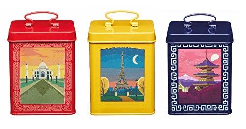 World of Flavours bedruckt blau rot gelb Carbon Aufbewahrung Essensdose Kuchendosen-Set von 3 (Küche Gelb Kanister-sets)