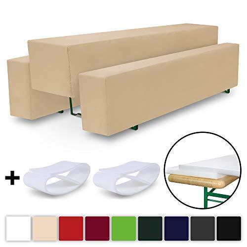 Beautissu Comfort M gepolsterte Bierbank-Hussen & Tisch-Husse 5 tlg. Set für 50cm breite Bierzeltgarnitur Ecru-Creme
