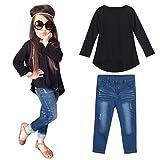 Vêtements à Manches Longues pour Bébés, 1 Jeu T-shirt Tops + Jeans Pantalons (2-3Ans, Gris)