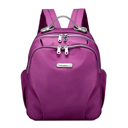 Yy.f Mode-Handtaschen Schulterbeutel Neue Wilde Damen Größe Modelle Wasserabweisend Nylongewebe Kleine Rucksäcke Taschen Volltonfarbe Purple