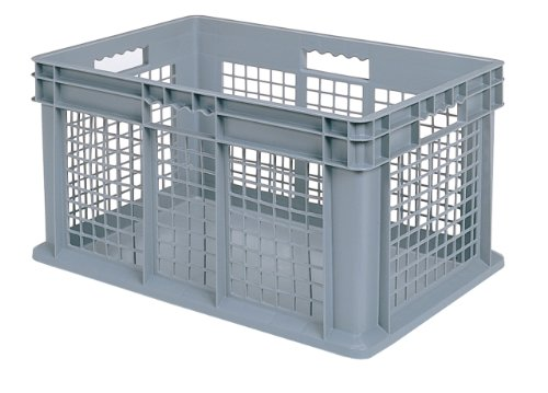 Plastic Containers Stacking (akro-mils 37676gerade Wand Container Tote mit Mesh-Seiten und solider Boden, 24von 40,6cm 16Zoll, Fall von 2, grau, 37676GREY)