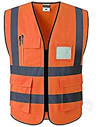 langlebig B Blesiya Sicherheitsweste mit Reflektierenden Streifen atmungsaktiv Warnweste Gelb//Orange S//M//L
