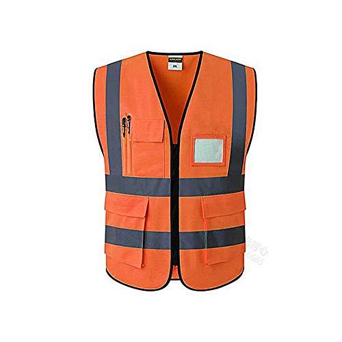 Gilet alta visibilità, yuccer gilet riflettente con tasche per uomo gilet sicurezza uomo da lavoro (xxl, arancione)