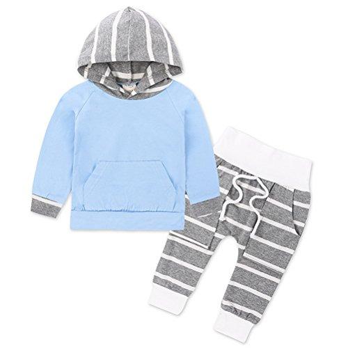 ARAUS Baby Kleidung Set Mädchen Overall Streifen mit Kapuzen Tops + Hosen 2 Sets 3-24 Monate