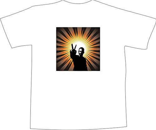 T-Shirt F1167 Schönes T-Shirt mit farbigem Brustaufdruck - Frieden Bruder Weiß