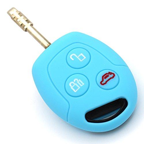 Schlüssel Hülle FF für 3 Tasten Auto Schlüssel Silikon Cover von Finest-Folia (Hellblau) -