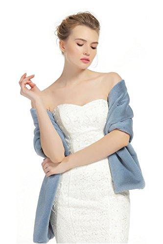 BEAUTELICATE Kunstpelz Schal Stola Bolero Pelz Damen Für Frauen Hochzeit Braut Abend Brautschal Brautstola, Graues Blau,  - Faux-pelz-schal Braun