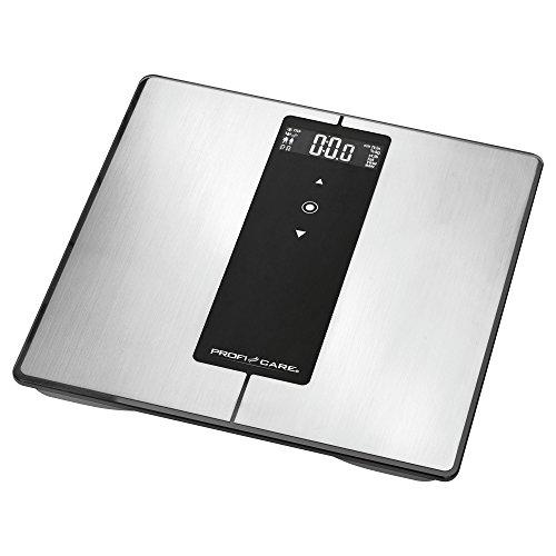 ProfiCare PC-PW 3008 BT 9in1 Edelstahl-Diagnosewaage mit Bluetooth-Funktion, Multifunktions-LCD-Display, Zusatzfunktionen über Smartphone-App