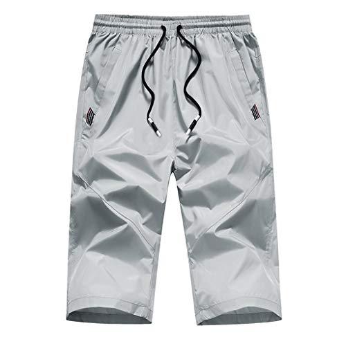 Yowablo Strandhose Herren Outdoor Schnell trocknend Slim Freizeitsport Caprihose (L,Grau)