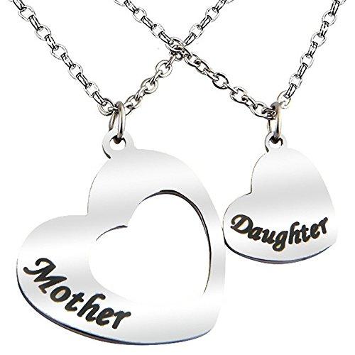 LiFashion LF 2 Stück Mutter Tochter Halskette - Edelstahl 1 Paar Puzzle Herz passenden Tag Anhänger Halskette für Mutter und Tochter zum Muttertag Geburtstagsgeschenk - Stück Mutter-töchter-halskette, 3