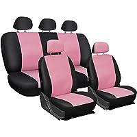 Lupex Fundas de asiento universales, en ecopiel, color rosa/negro.