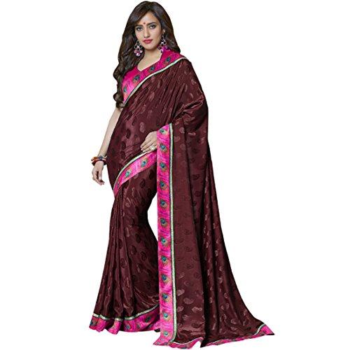 Saree ( Neha Sharma Dark Brown Printed saree )